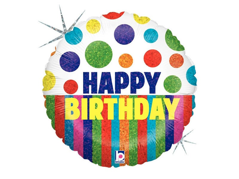 Foil 18 Happy Birthday (Dots & Stripes)